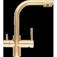 Кран комбинированный (хол/гор + питьевая) atoll 0212-L (золото)